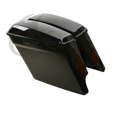 """For 2014-2017 5"""" Stretched Hard Saddlebags Extended Harley Saddle Bags Glossy 15"""