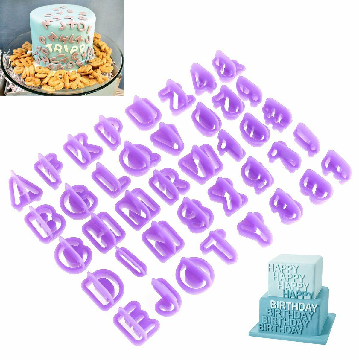 40pcs/Set Icing Cutter Mold Mould Alphabet Number Letter Fondant Cake Decorating Baking Accs. & Cake Decorating