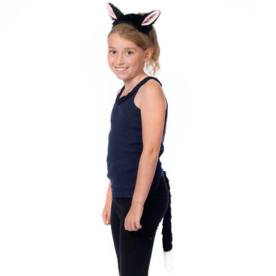 Black Cat Costume Ears and Tail Kids Halloween Fancy Dress & World Book Day](Halloween Cat Tail And Ears)