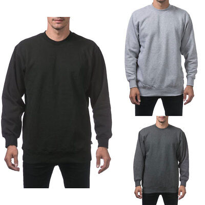 Pro Club Men's Plain Heavyweight Crew Neck Fleece Pullover Sweatshirt Size S~5XL - Heavyweight Fleece Crew Sweatshirt