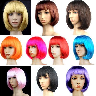 Frauen kurze gerade volle Perücken Cosplay Party Bob Anime Halloween Haare Neu