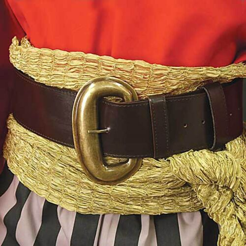 Wide Brown Leather Pirate Belt
