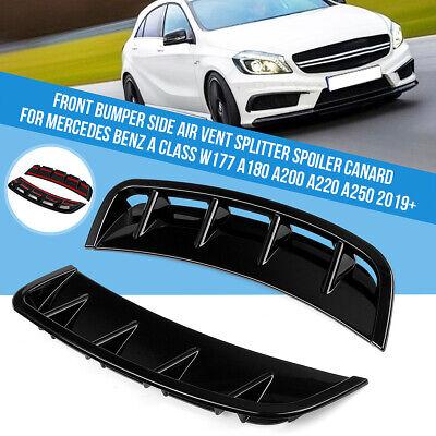 L+R Vorne Stoßstange Spoiler Glanz ABS Für Benz Mercedes A Klasse W177 A180 A200