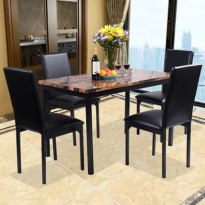 5 Piece Dining Set Faux Marble Table And 4 Chairs Kitchen Breakfast Furniture