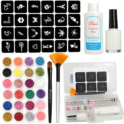 24 Color Glitter Tattoo Stencils Make Up Halloween Party Face Body Art Paint Set