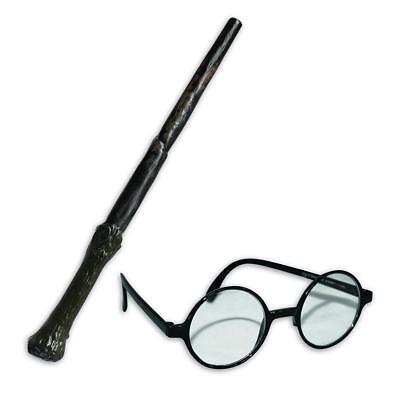 Harry Potter Set Zauberstab & Brille Kostüm Verkleidung Cosplay Fasching Motto