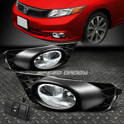 FOR HONDA CIVIC 09-11 4-DR OE BUMPER CLEAR FOG LIGHT LAMP KIT WITH SWITCH+WIRE