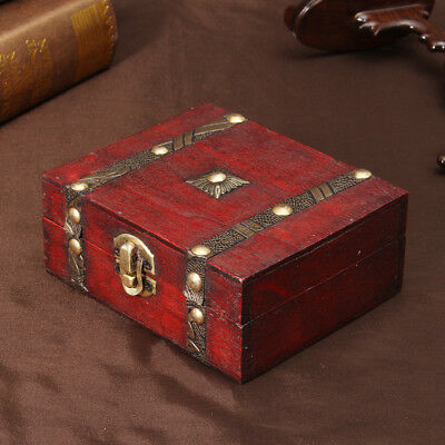 Wooden Jewelry Box Storage Vintage Treasure Chest Wood Crate Case Gift USA - Chest Box