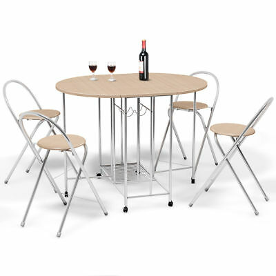 5 PCS Steel Wood Folding Dining Room Table 4 Chairs Set Stool Kitchen Furniture Dining Room Set Folding Chair