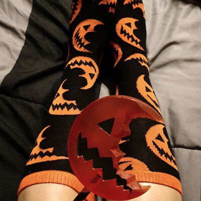 Halloween Pumpkin Splicing Warm Long Socks Casual Women Girl Free Size Stockings