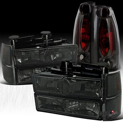 Fit 1994-1998 Chevy C/K C10 1500 Tahoe Smoke Headlights+Bumper+Corner+Tail Lamps
