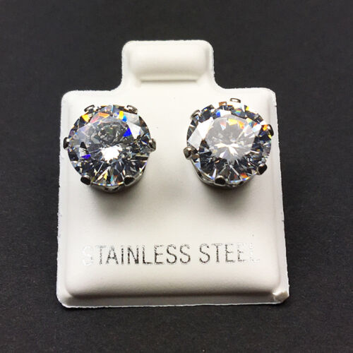 Earrings - Hypoallergenic 316L Surgical Stainless Steel Round White Clear CZ Stud Earrings