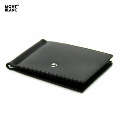 [MONT BLANC] 5525 Money Clip Meisterstuck Wallet 6CC Men Black Leather Gift