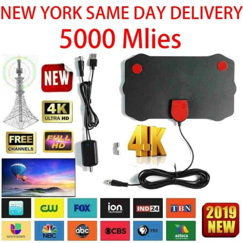 Digital TV Antenna 5000 Mile Range Signal Booster Amplifier HDTV Indoor HD 1080P
