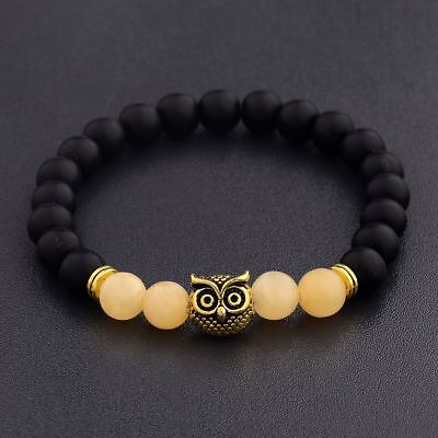 Men Women Natural Round Gemstone Bead Gold Owl Head Handmade Beads Bracelets