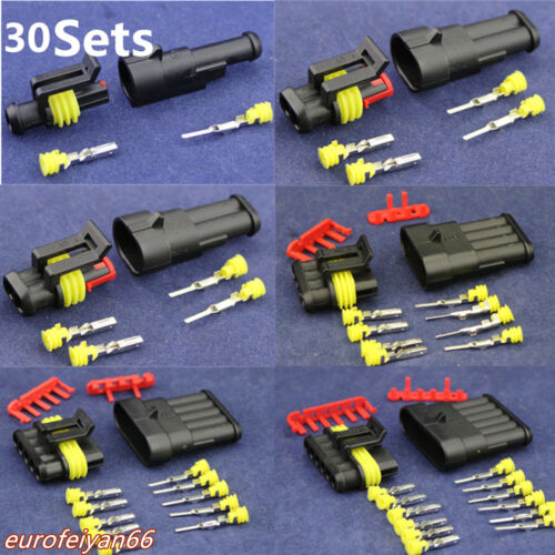 30 Set 1 2 3 4 5 6 Pins Way Car Sealed Electrical Wire Connector Plug Waterproof
