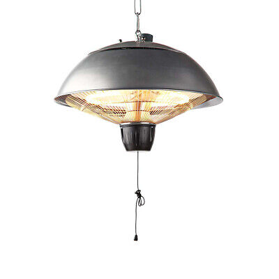 Silver 2KW Electric Patio Heater Hanging Lamp Aluminum Ceiling Mounted Heat IP24
