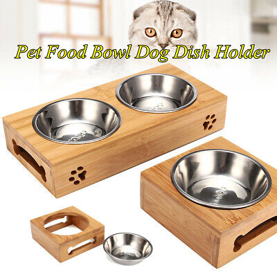 Pet Food Bowl Dog Dish Puppy Cat Water Feeder Tableware Bamboo Stand -