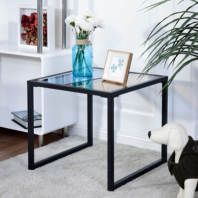 Square Side End Table Tempered Glass Top Metal Frame Living Room Furniture New