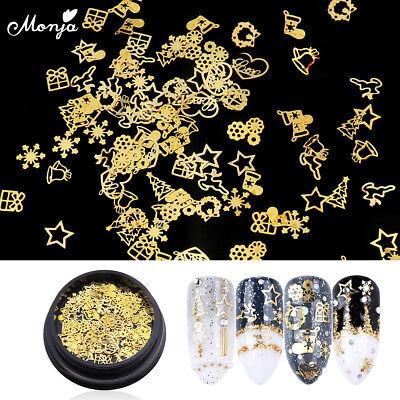 Christmas Tree Star Charm - Nail Art Christmas tree Snowflake Star Flake Sequins Metal Gold Charm Decoration