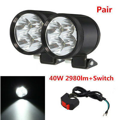 Pair 40W 2980LM Motorcycle Headlight LED Spot Driving Fog Light Work Lamp+Switch