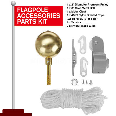 Flag Pole Replacement Parts Repair Kit Truck Pulley Halyard Cleat Clips Rope Set Halyard Flag Clip
