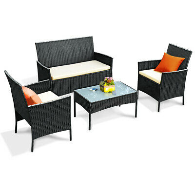 Garden Furniture - 4 PC Outdoor Rattan Furniture Set Loveseat Sofa Cushioned Patio Garden Steel NEW