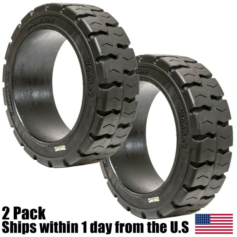 2PK 18x8x12.125 Solid Puncture Proof Press-On Traction Forklift Tire 18812
