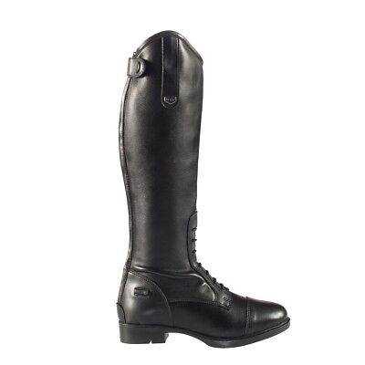 Horze Children's Rover Black Leather-Like Suede English Zip Up Tall Field - Leather Like Field Boot