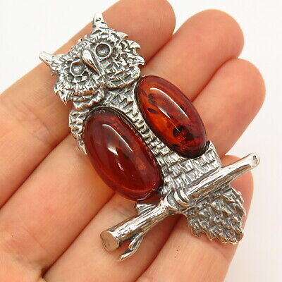 925 Sterling Silver Vintage Real Amber Wise Owl Pin Brooch