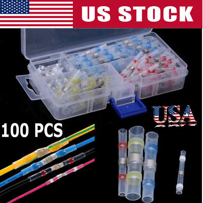 100pcs Heat Shrink Solder Sleeve Butt Splice Wire Connector Waterproof Sale