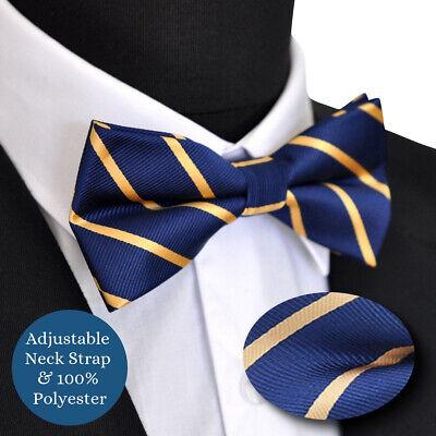 Gold Stripe Bow Tie (Wedding Formal Pre- Tied Gold Yellow Stripe Line Navy Blue Adjustable Bow Tie)
