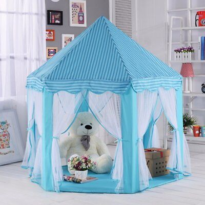 Play Tent Blue Princess Cute Castle Playhouse Indoor Outdoor Kid Children Toy (Castle Play Tent)