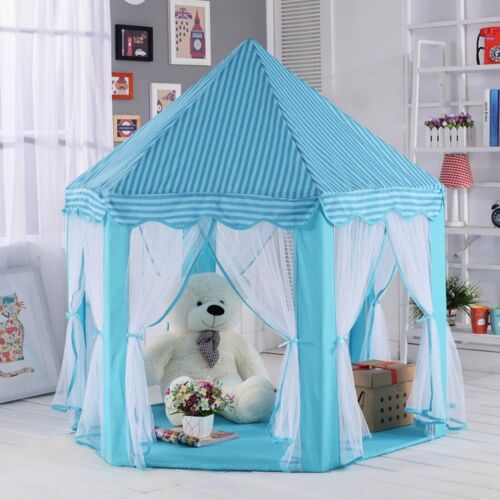 Play Tent Blue Princess Cute Castle Playhouse Indoor Outdoor