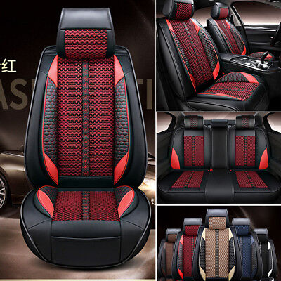 5-Seat Deluxe PU Leather &Ice Silk Black w/ Red  Front+Rear Car Seat Covers Mat ()