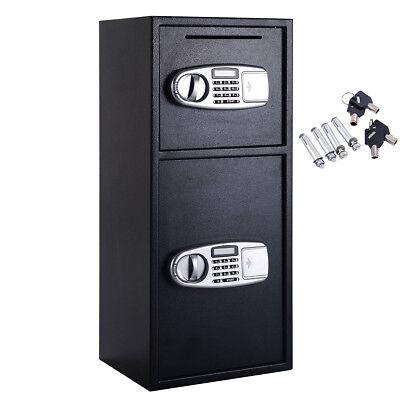 2 Doors Heavy Duty Steel Digital Safe Money Drop Box Lock Keypad Deposit (Heavy Duty Drop Safe)