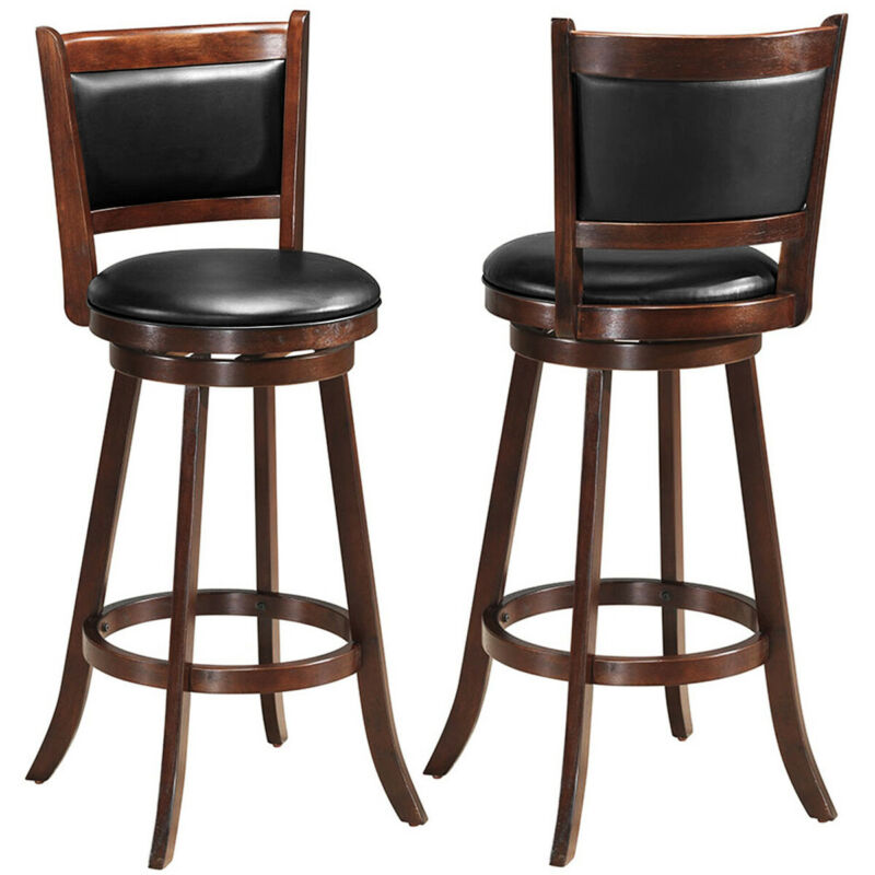 """2-Set 29"""" Swivel Bar Stool Wood Counter Height Dining Chair Home Kitchen"""