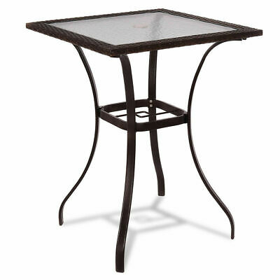 Outdoor Patio Rattan Wicker Bar Square Table Glass Top Yard