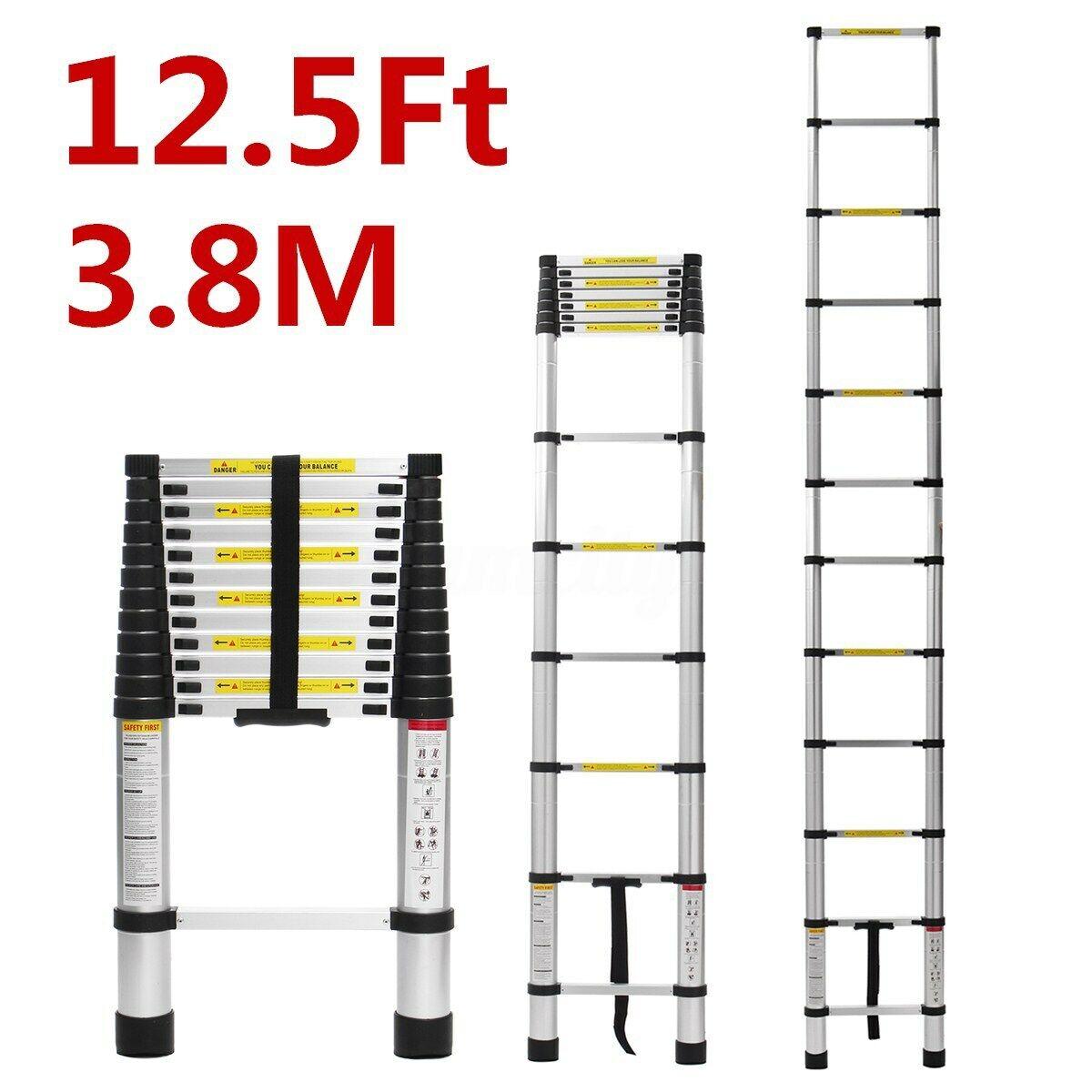 12.5FT Telescopic Extension Aluminum Step Ladder Non-Slip 12 Steps Ladders EN131
