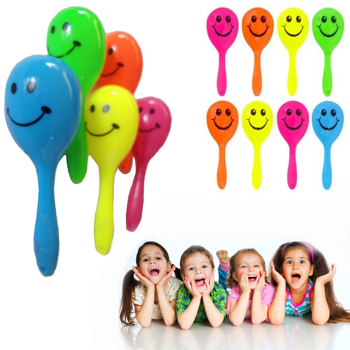 Maracas Rattle Toy Maraca Smiley Kids Shake Shaking Sound Music Party Bag Filler