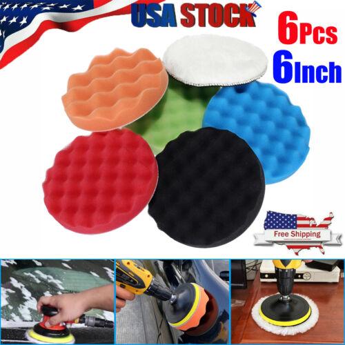 "6"" Inch Car Buffing Pads Polishing for Drill Sponge Kit Set Waxing Foam Polisher"