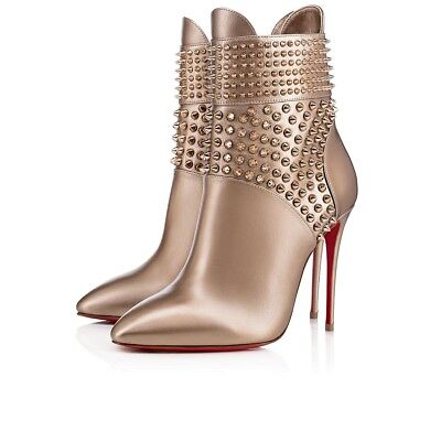 NIB Christian Louboutin Hongroise 100 Colombe Gold Spike Ankle Heel Bootie 36