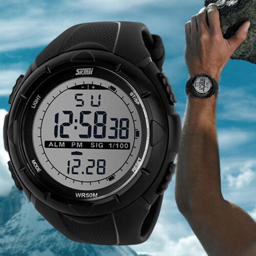 SKMEI Men's LED Digital Alarm Date Military Sports Army Wate