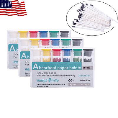 Easyinsmile Paper Points Endo 04 Taper Assorted 300 Abosrbent Points Dental Use