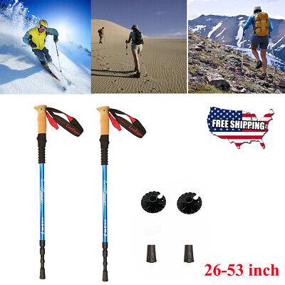 Pair 2 Trekking Walking Hiking Sticks Poles Alpenstock anti-shock 65-135cm Blue ()