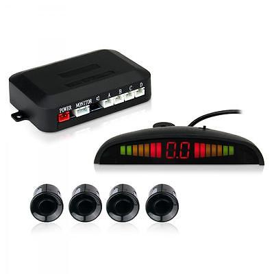 Car Parking Reverse Backup Radar System Backlight LED Display + 4 Sensors Black