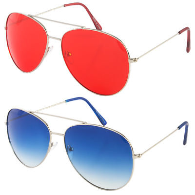 Classic Aviator Sunglasses Blue Red Yellow Color Tinted Lens Silver Metal