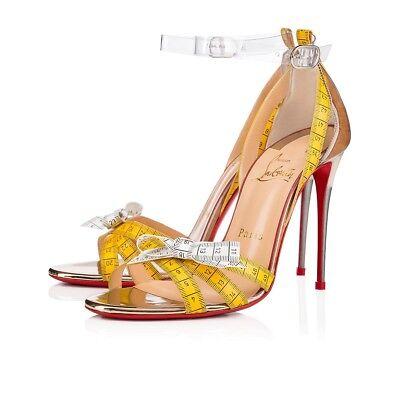 NIB Christian Louboutin Metrisandal 100 Yellow Ankle Strap Sandal Heel Pump 37