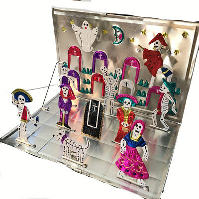 Fold-up TIN CEMETERY SCENE with Skeletons - Halloween Decor, Day of the Dead Art