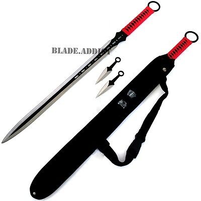 "28"" RED NINJA SWORD Full Tang Machete Tactical Blade Katana 2PCS Throwing Knife"
